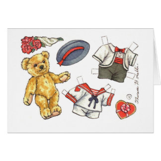 Teddy Bear paper doll blank note card