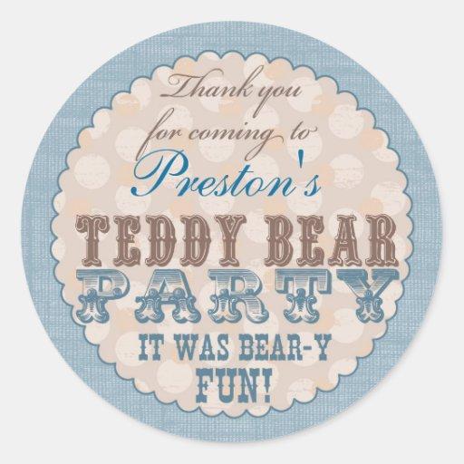Teddy Bear Party Thank You Sticker - Blue