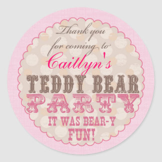 Teddy Bear Party Thank You Sticker - Pink