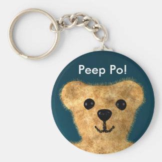 Teddy Bear (Peep po!) Basic Round Button Key Ring