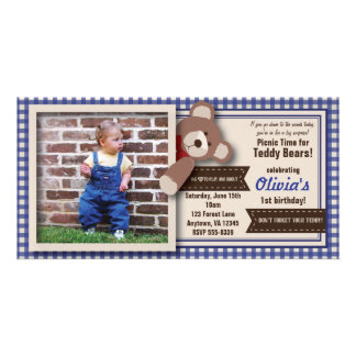 Teddy Bear Picnic Birthday -Blue Gingham Card