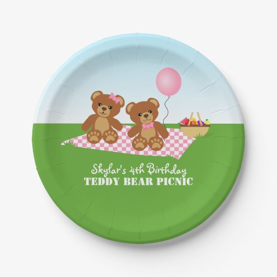Teddy Bear Picnic Birthday Party 7 Inch Paper