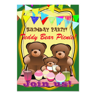 Teddy Bear Picnic Birthday Party Card