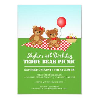 Teddy Bear Picnic Birthday Party 5x7 Paper Invitation Card