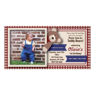 Teddy Bear Picnic Birthday -Red Gingham Picture Card