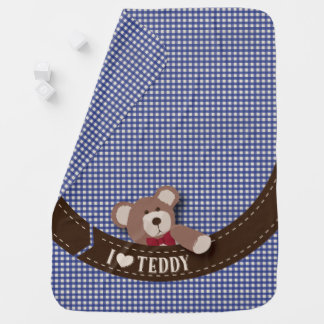 Teddy Bear Picnic- Blue Gingham Swaddle Blankets
