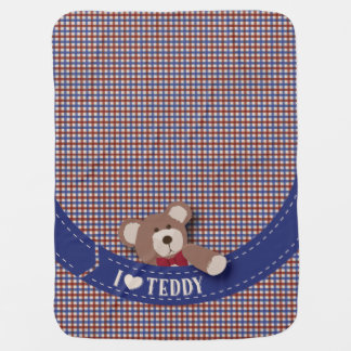 Teddy Bear Picnic- Blue & Red Gingham Buggy Blanket