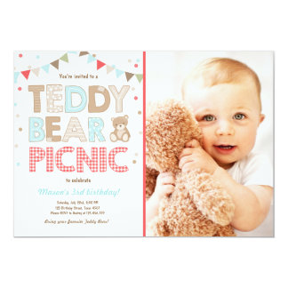 Teddy Bear Picnic Boy birthday Invitation Blue
