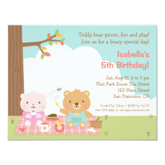 Teddy Bear Picnic Kids Birthday Party Invitations