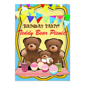 Teddy Bear Picnic Kids Party Card