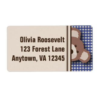 Teddy Bear Picnic Label- Blue Gingham Shipping Label