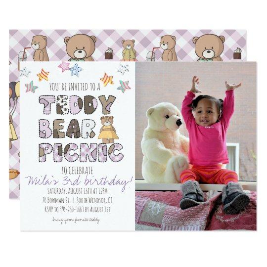 Teddy Bear Picnic Party Invitation - Purple
