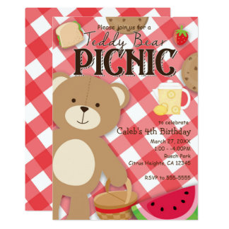 Teddy Bear Picnic Summer Birthday Party Invitation
