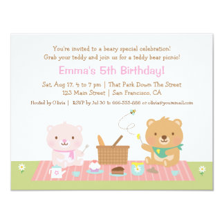 Teddy Bear Picnic Tea Party Birthday Invitations