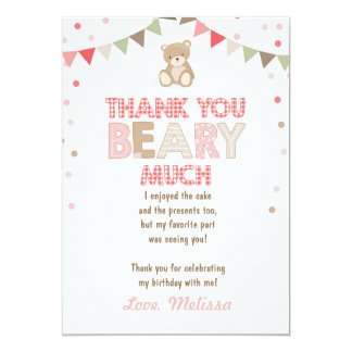 Teddy bear picnic Thank You Card Teddy bear Girl