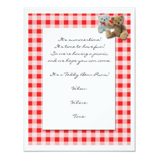 Teddy Bear Picnic with Red and White Tablecloth 11 Cm X 14 Cm Invitation Card