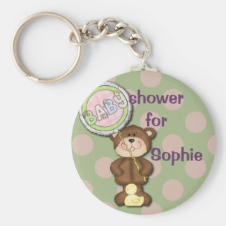Teddy Bear Pink and Green Basic Round Button Key Ring