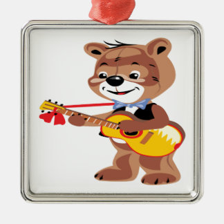 Teddy bear playing a guitar christmas ornament