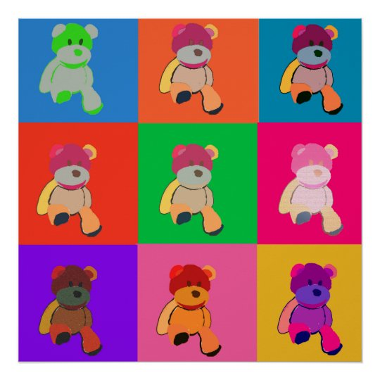 Teddy Bear Pop Art Poster