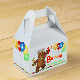 Teddy Bear Prince 1st Birthday Party Custom Favour Box