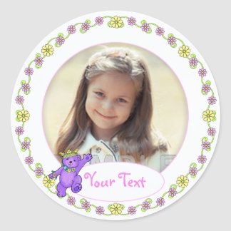Teddy Bear Princess Birthday Custom Photo Classic Round Sticker