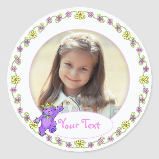 Teddy Bear Princess Birthday Custom Photo Classic Round