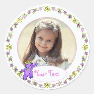 Teddy Bear Princess Birthday Custom Photo Round Sticker