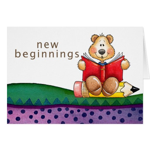 Teddy Bear Reading Greeting Cards
