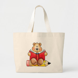 Teddy Bear Reading Large Tote Bag