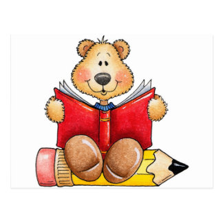 Teddy Bear Reading Postcard