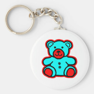Teddy Bear Red Cyan The MUSEUM Zazzle Gifts Key Chains