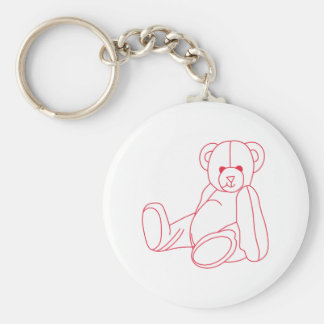 Teddy Bear Redwork Basic Round Button Key Ring