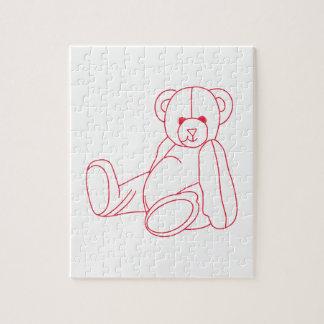 Teddy Bear Redwork Jigsaw Puzzle