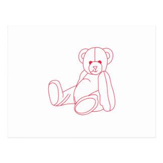 Teddy Bear Redwork Postcard