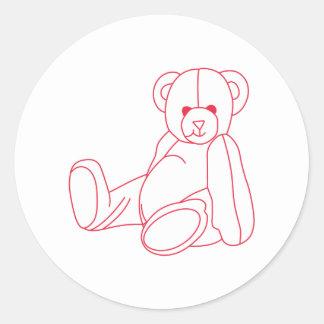 Teddy Bear Redwork Round Sticker