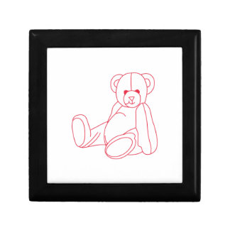 Teddy Bear Redwork Small Square Gift Box