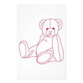 Teddy Bear Redwork Stationery Paper