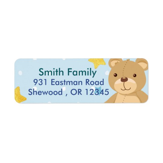 Teddy bear return address label