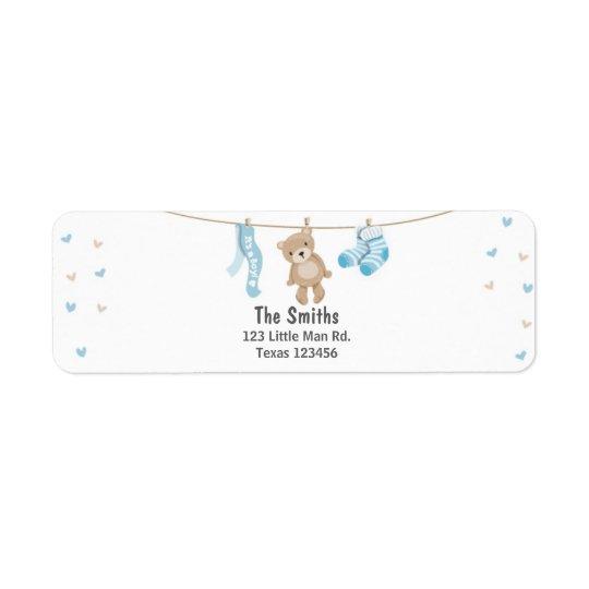 Teddy Bear Return Address Label White Blue