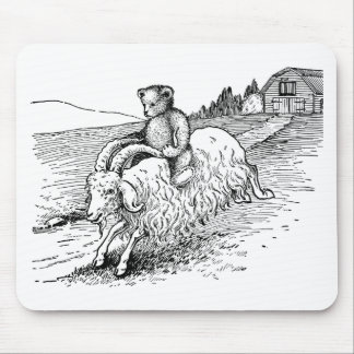 Teddy Bear Riding a Goat Mousepad