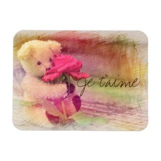 Teddy Bear Rose Je t'aime Magnet