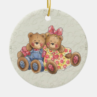 Teddy Bear Round Ceramic Decoration