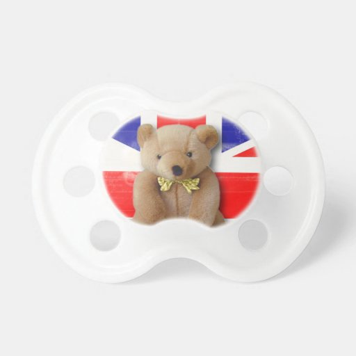 Teddy Bear Royal Baby Union Jack Baby Pacifiers