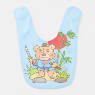 Teddy bear samurai bib