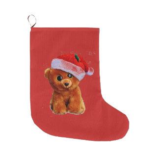 Teddy Bear Santa Large Christmas Stocking