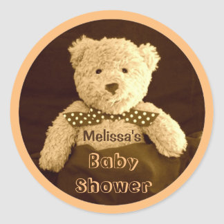 Teddy Bear Sepia Tone Baby Shower Stickers