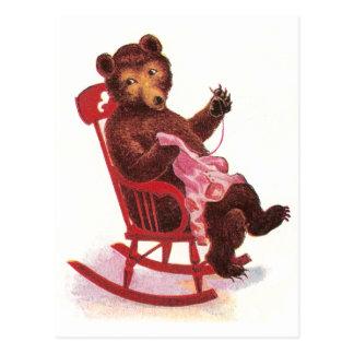 Teddy Bear Sewing Clothes Postcard
