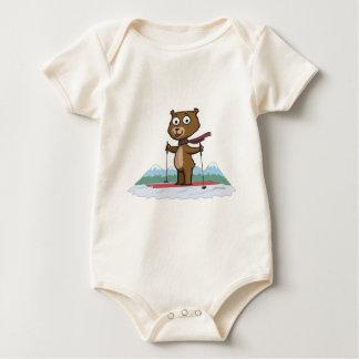 Teddy Bear Skiing Baby Bodysuit