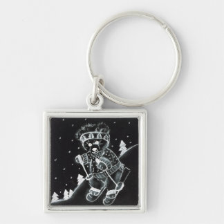 Teddy Bear Skiing in black and white Silver-Colored Square Key Ring