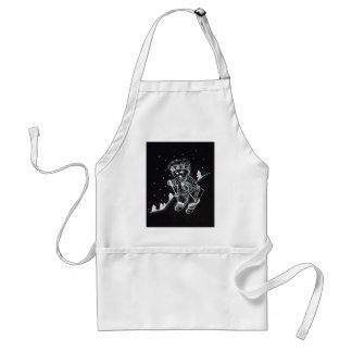 Teddy Bear Skiing in black and white Standard Apron